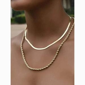 3/$30 Gold Twist Layered Chain Statement Necklace